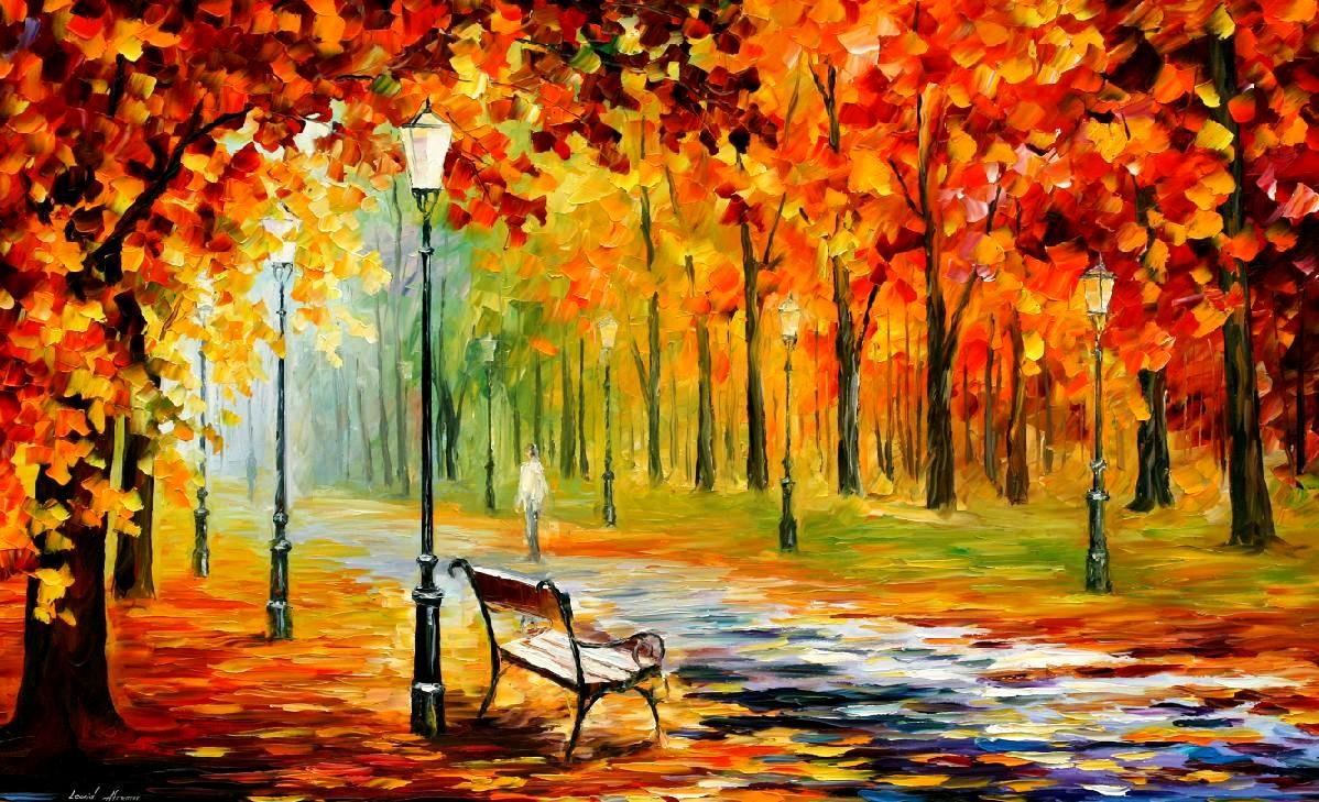 Banc et paysage d'automne – Leonid Afremov