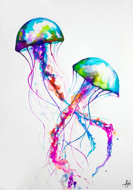 Marc allante pluie de couleurs l 39 artboratoire for Jelly fish painting