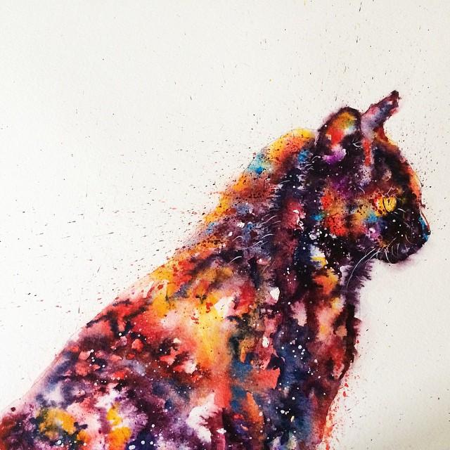 Chat peinture à l'eau © liviing