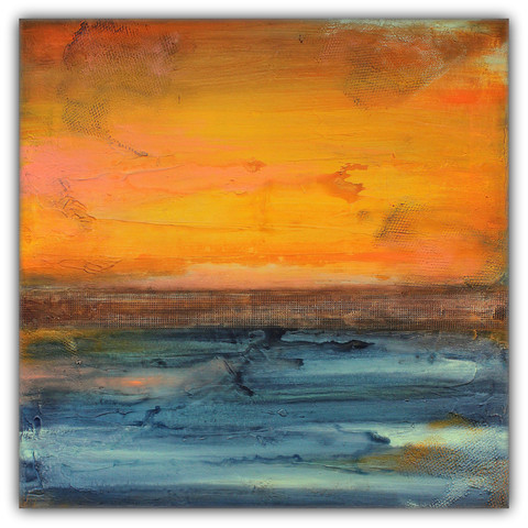 Abstract Seascape in Orange and Blue © ModernHomeCo