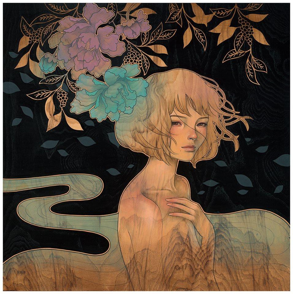 Jeune femme sur bois © Audrey Kawasaki