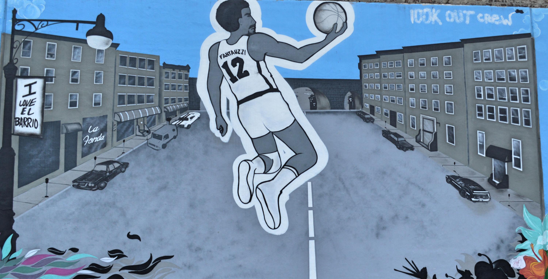 Terrain de basket East Harlem, Panneau 2, Street Art de commande