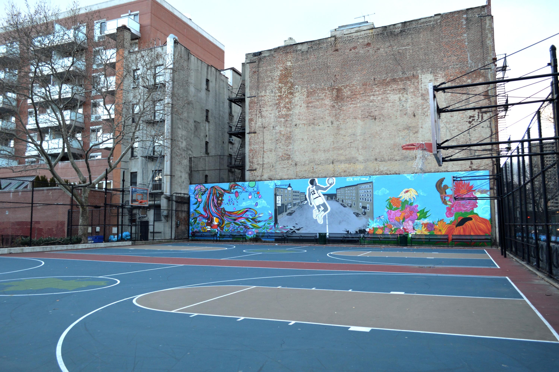 Terrain de basket East Harlem, Street Art de commande