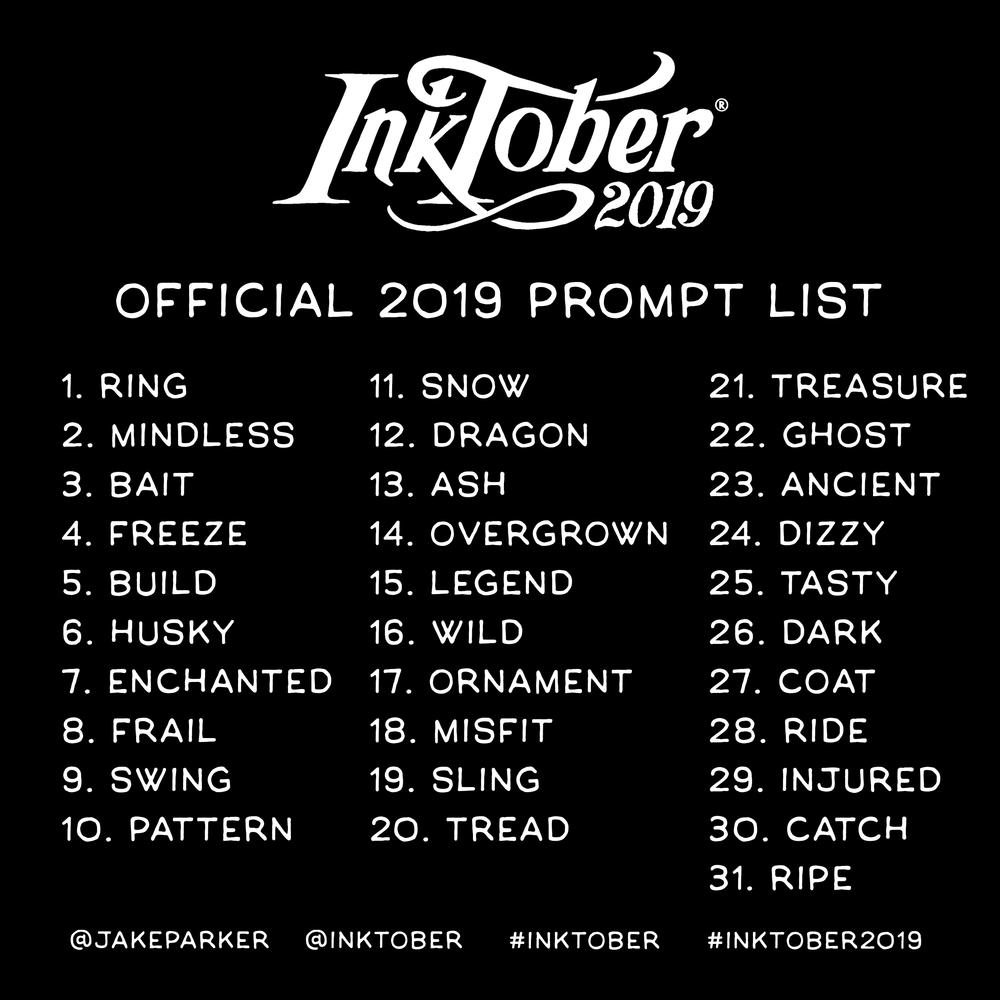 Liste officielle des thèmes Inktober 2019