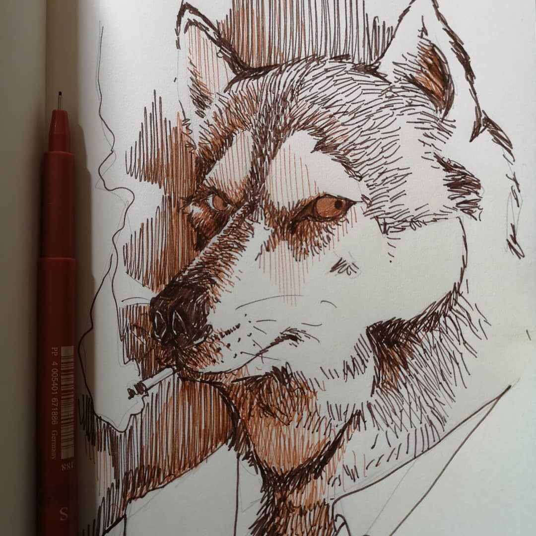 Husky (Inktober jour 6) – Arrigo Bruno