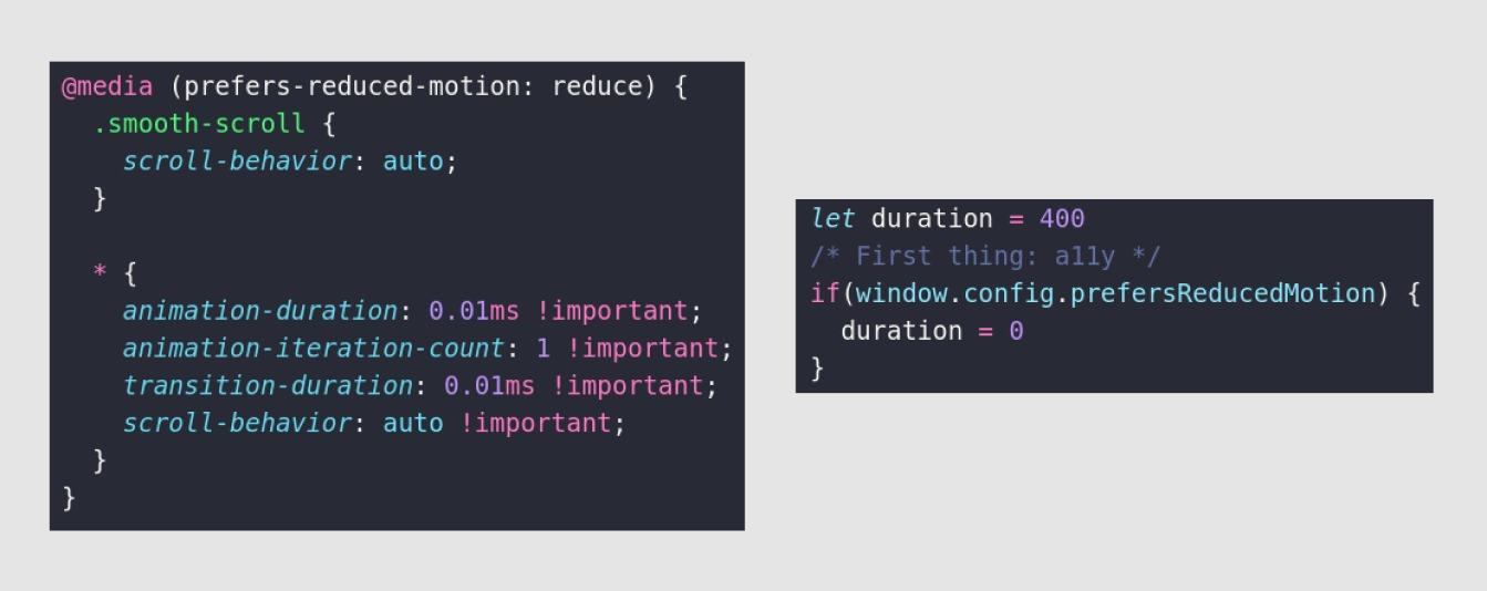 Réduction des animations en fonction de la préférence utilisateur