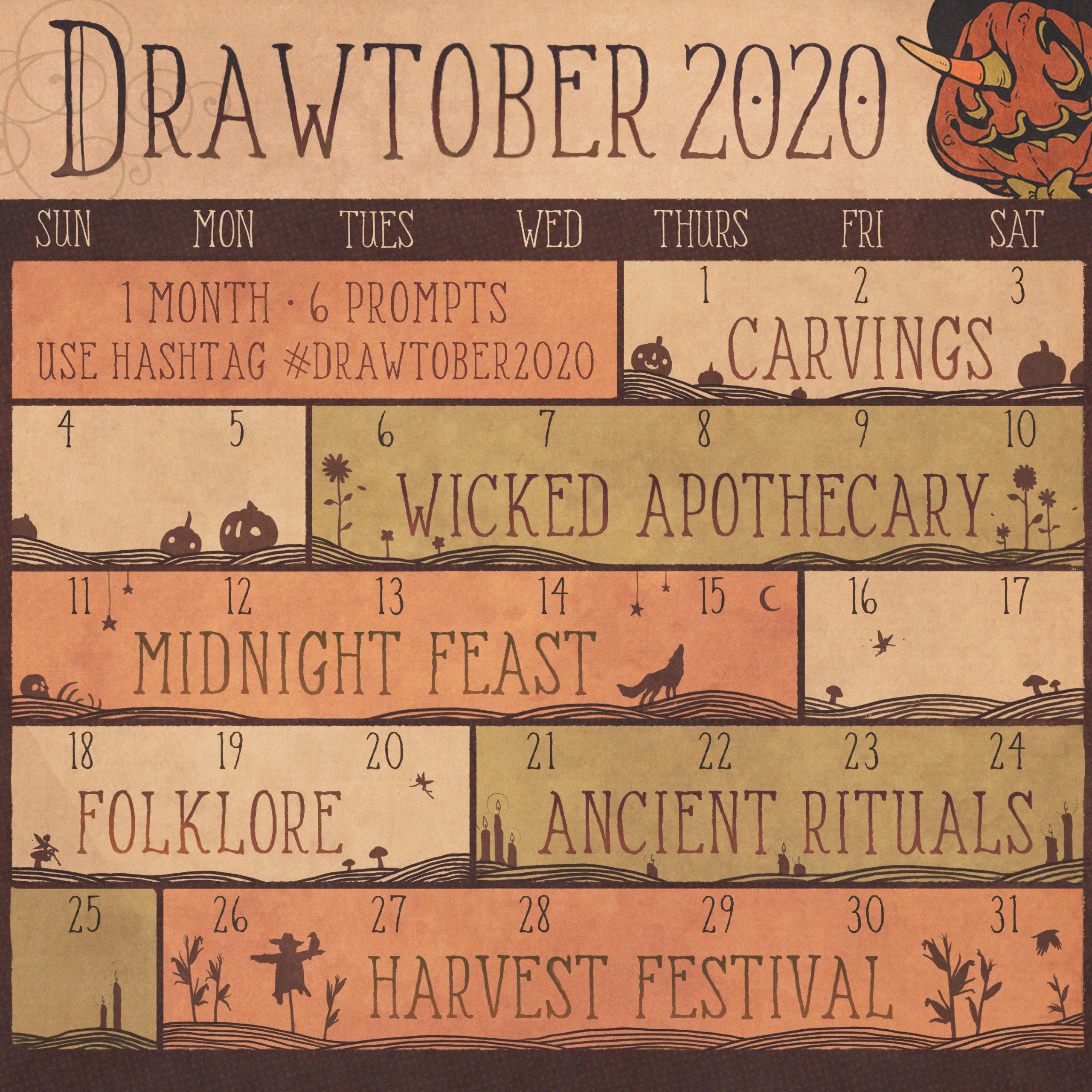 Drawtober 2020 – liste des thèmes